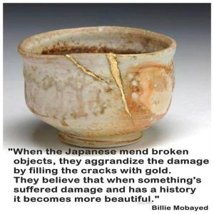 wabi sabi repaired cup with gold