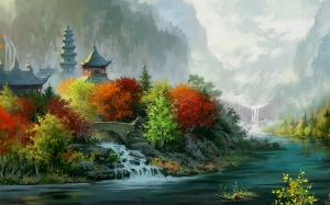 Chinese-river-and-temple-art